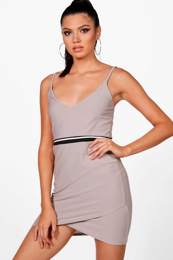 Strappy Wrap Dress With Sports Stripe Detail