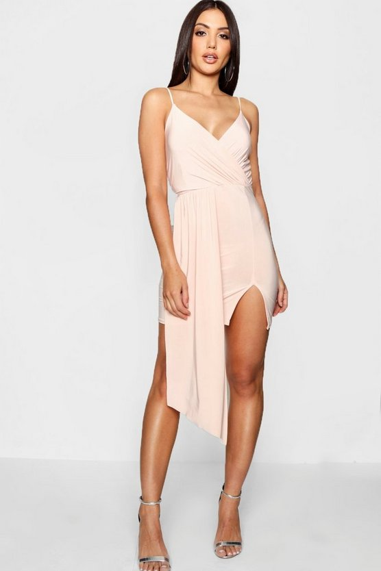Strappy Drape Front Wrap Bodycon Dress