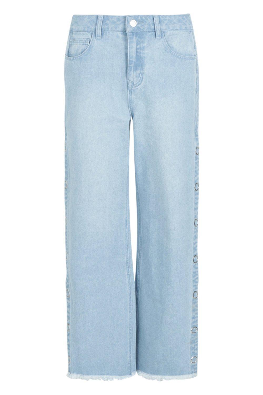 lateral de pata Jeans azul broches presión de con recta 1wTWaqxSZg