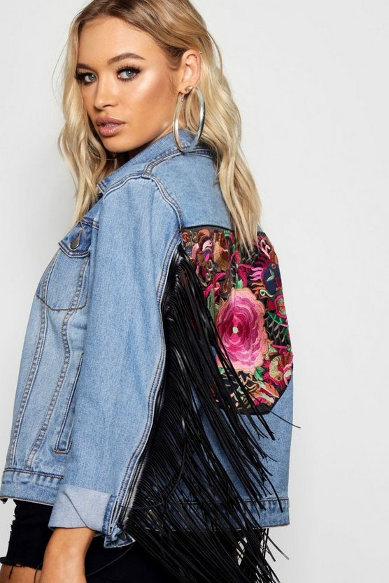 Tally Tapestry Back Tassel Sleeve Denim Jacket
