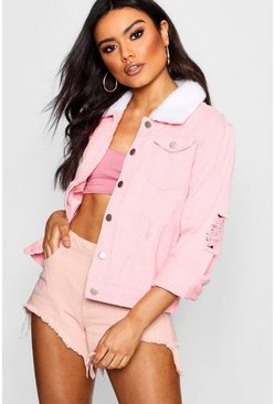 Pink Borg Collar Slim Fit Denim Jacket