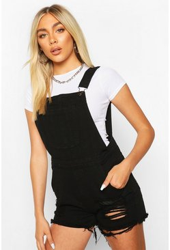 Fray Hem Denim Dungaree Shorts, Black, Donna