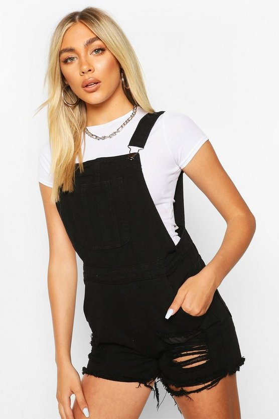 Fray Hem Denim Dungaree Shorts