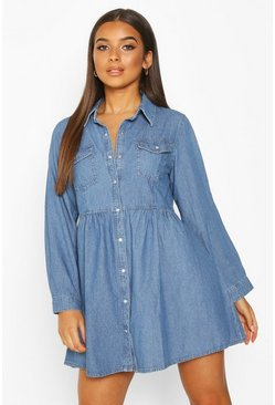 Langärmeliges Hemdkleid aus Denim, Blau