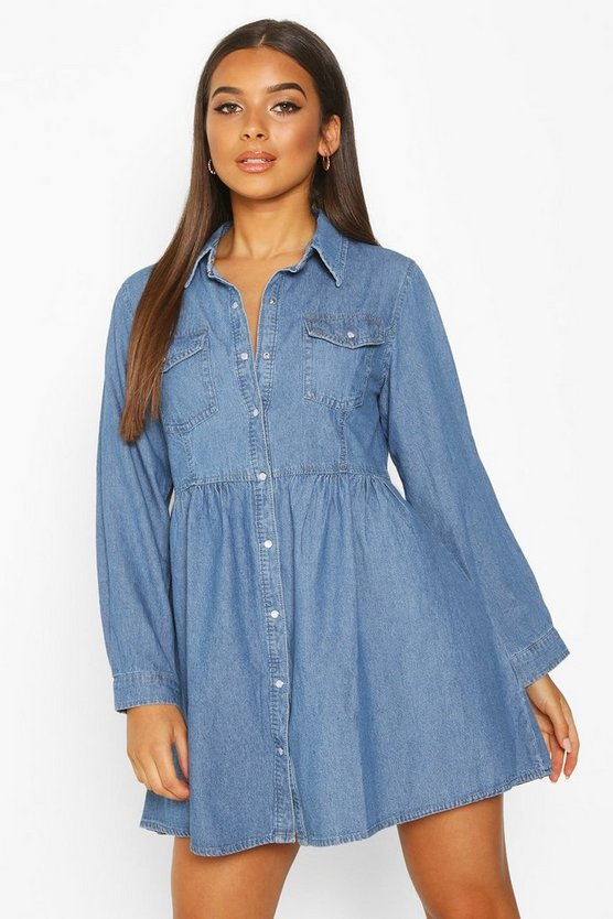 Langärmeliges Hemdkleid aus Denim, Blau, DAMEN