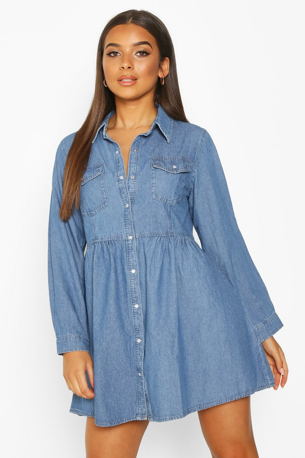 eac903ac16f1b Womens Blue Long Sleeve Denim Shirt Dress