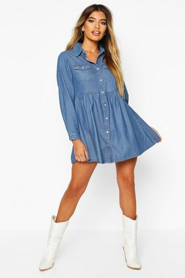 Womens Indigo Long Sleeve Denim Shirt Dress