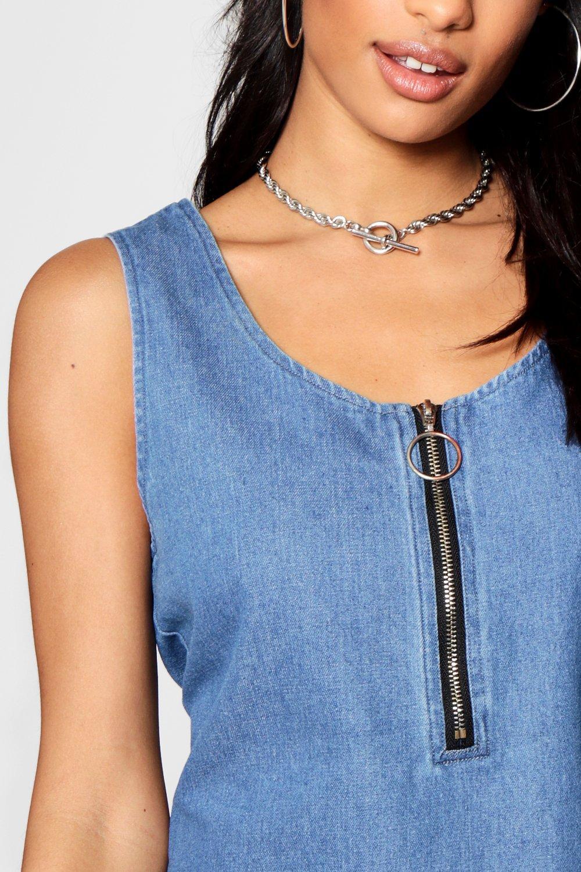 con frontal medio azul sin Denim mangas cremallera con de Vestido pBzYgSFqc