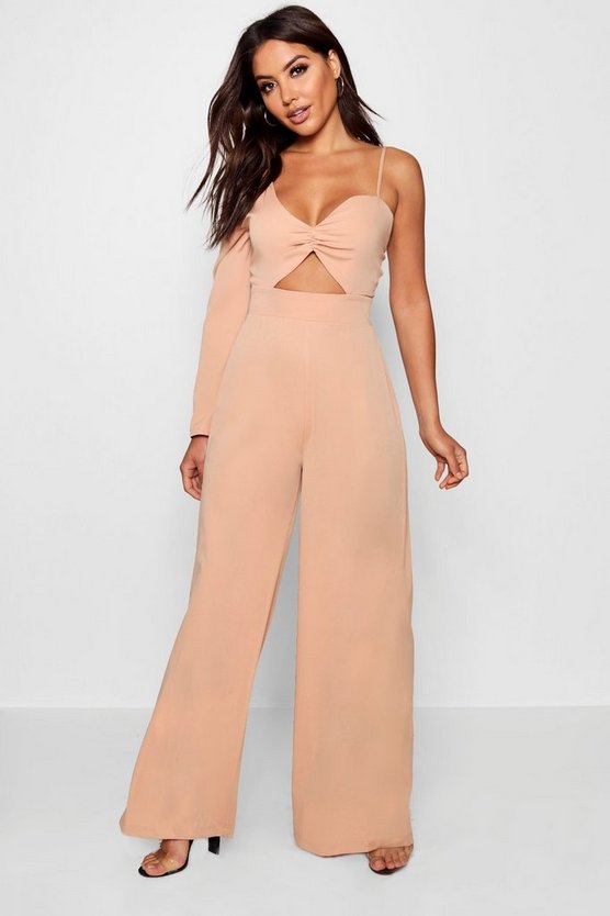 Womens One Shoulder Cut Front Wide Leg Jumpsuit
