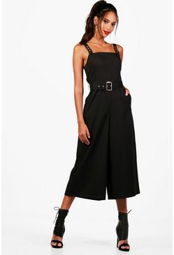 Womens Black Safari Style Square Neck Jumpsuit