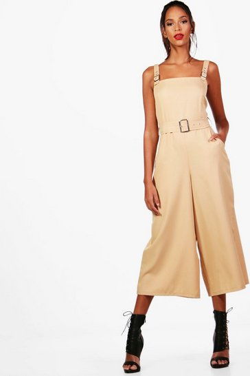 Womens Stone Safari Style Square Neck Jumpsuit