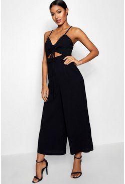 Ruched Front Strappy Wide Leg Jumpsuit, Black, Donna