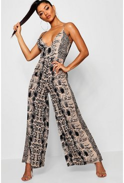 Womens Black Snake Print Wide Leg Jumpsuit