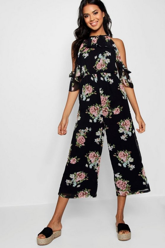 Floral Micro Ruffle Cold Shoulder Jumpsuit