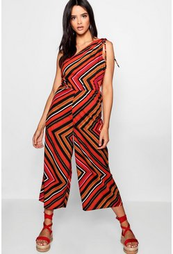 Womens Red Charlotte Column Culotte Striped Jumpsuit