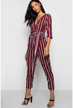 Womens Wine Striped Wrap Tie Belt Jumpsuit