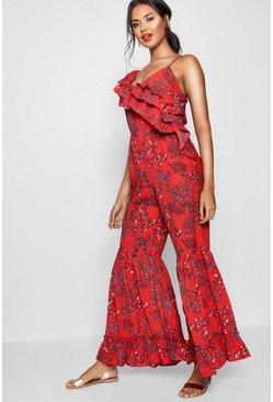 Womens Red Ruffle One Shoulder Jumpsuit