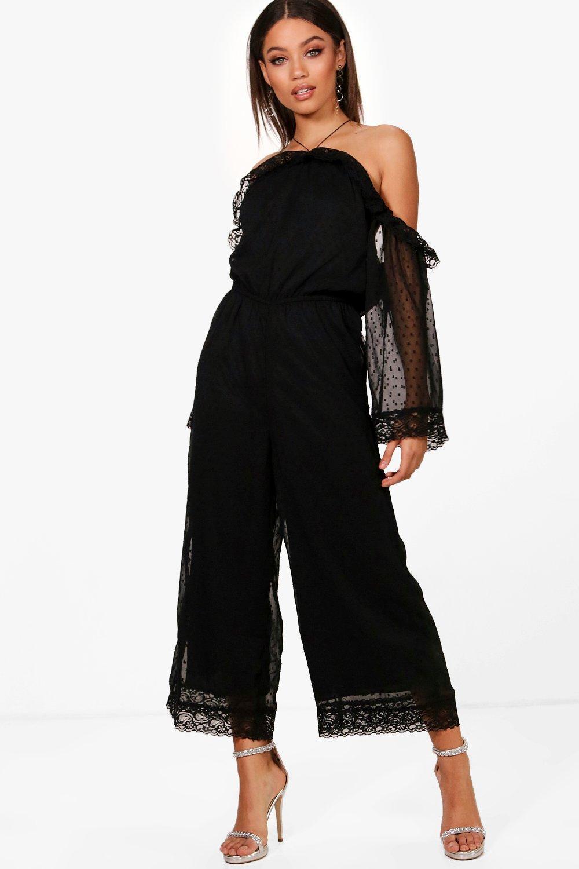 Lace Trim Halterneck Culotte Jumpsuit