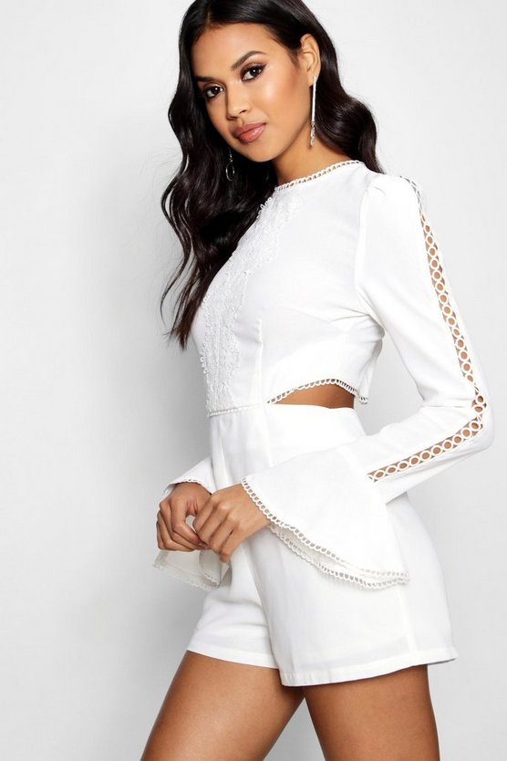 Womens Ivory Boutique Cut Side Flare Sleeve Playsuit