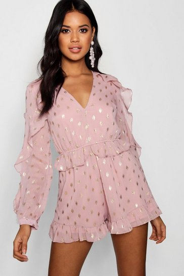 Womens Rose Metallic Spot Chiffon Playsuit