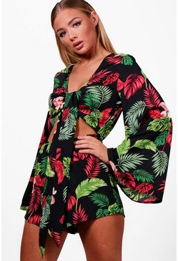 Womens Black Tropical Tie Front Flare Sleeve Playsuit