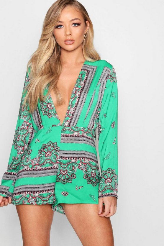 Scarf Print Plunge Playsuit