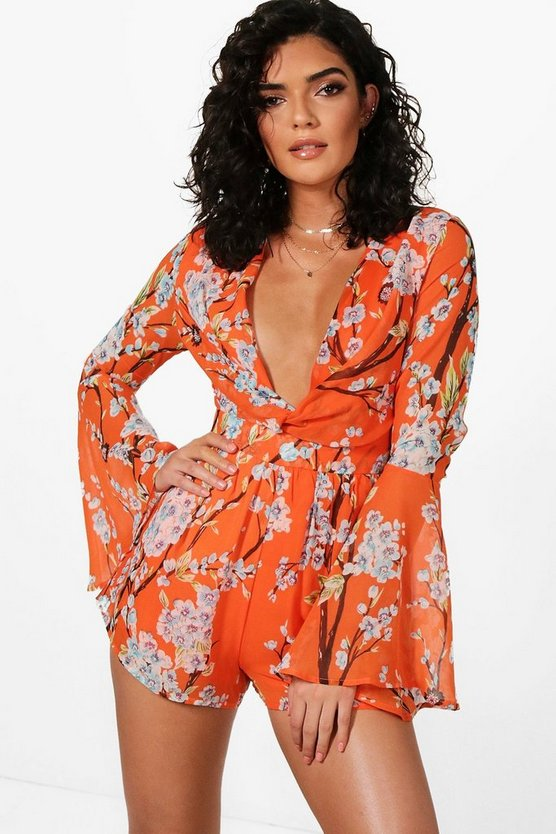 Floral Knot Front Flare Sleeve Playsuit