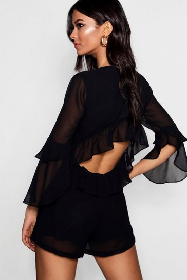 Womens Black Ruffle Open Back Playsuit