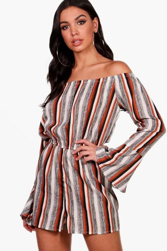 Striped Off Shoulder Playsuit