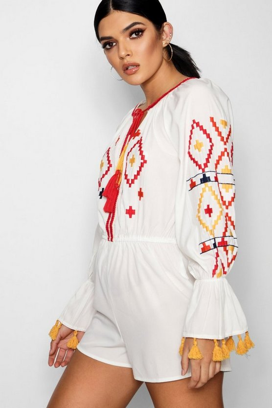 Aztec Embroidered Oversized Playsuit