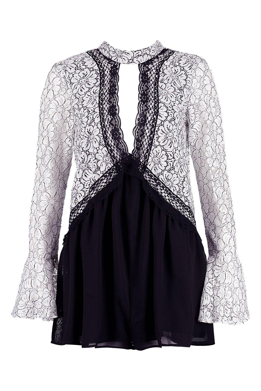 fe79875f1f0 Boohoo Womens Lace Choker Style Smock Playsuit in Black size 4