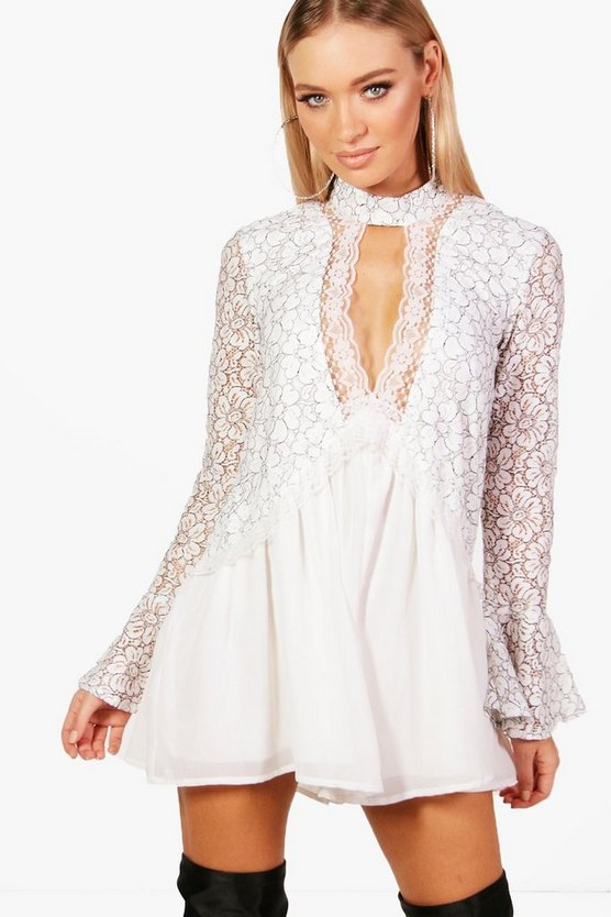 Lace Choker Style Smock Playsuit