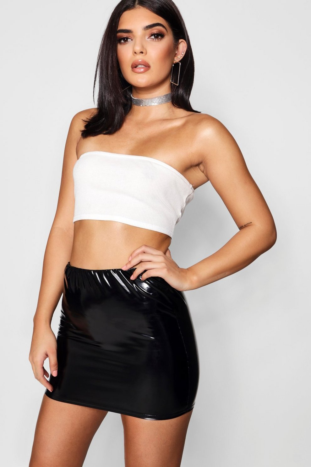 7902a3a6a4 Womens Black Vinyl Micro Mini Skirt