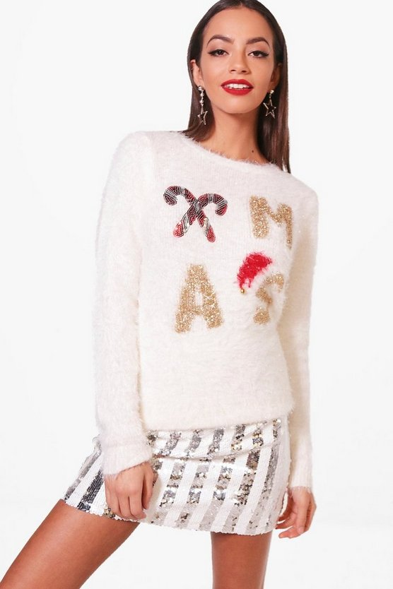Fluffy Knit Sequin Christmas Jumper