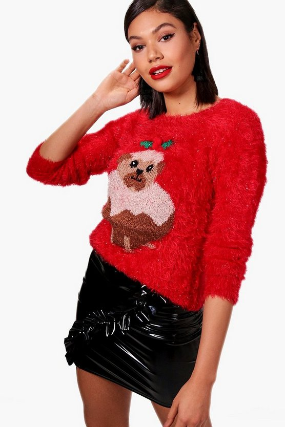 Pug Christmas Pudding Fluffy Knit Jumper