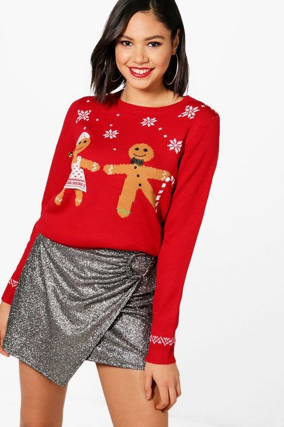 Sequin Gingerbread Christmas Jumper