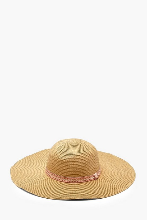 Natural Georgie Aztec Trim Floppy Hat