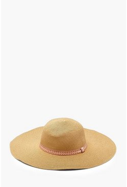 Womens Natural Georgie Aztec Trim Floppy Hat