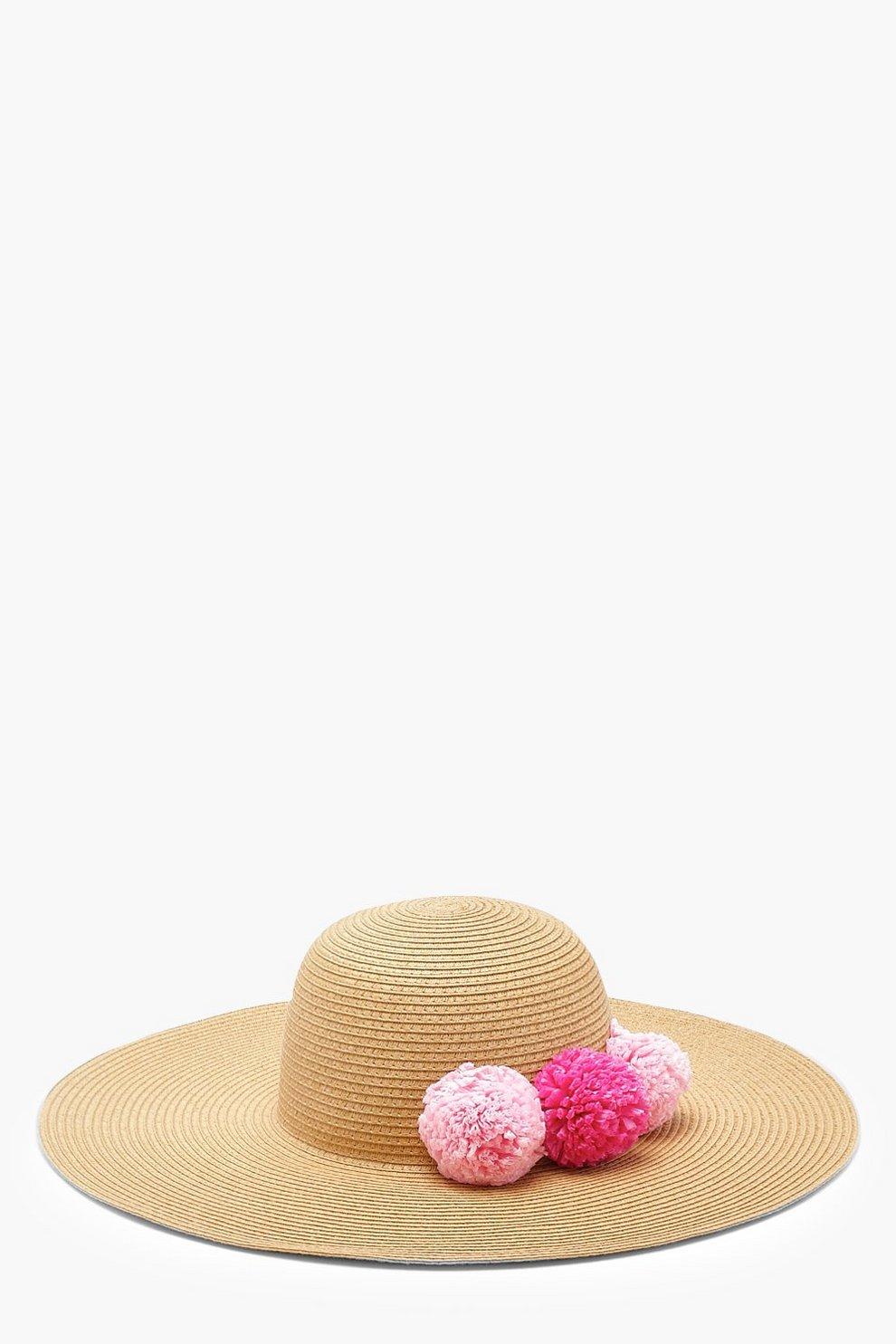 42561eb1d26da Straw Pom Pom Floppy Hat