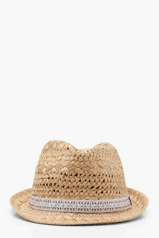 Aztec Trim Straw Trilby Hat