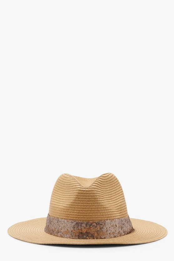 Sequin Trim Straw Fedora