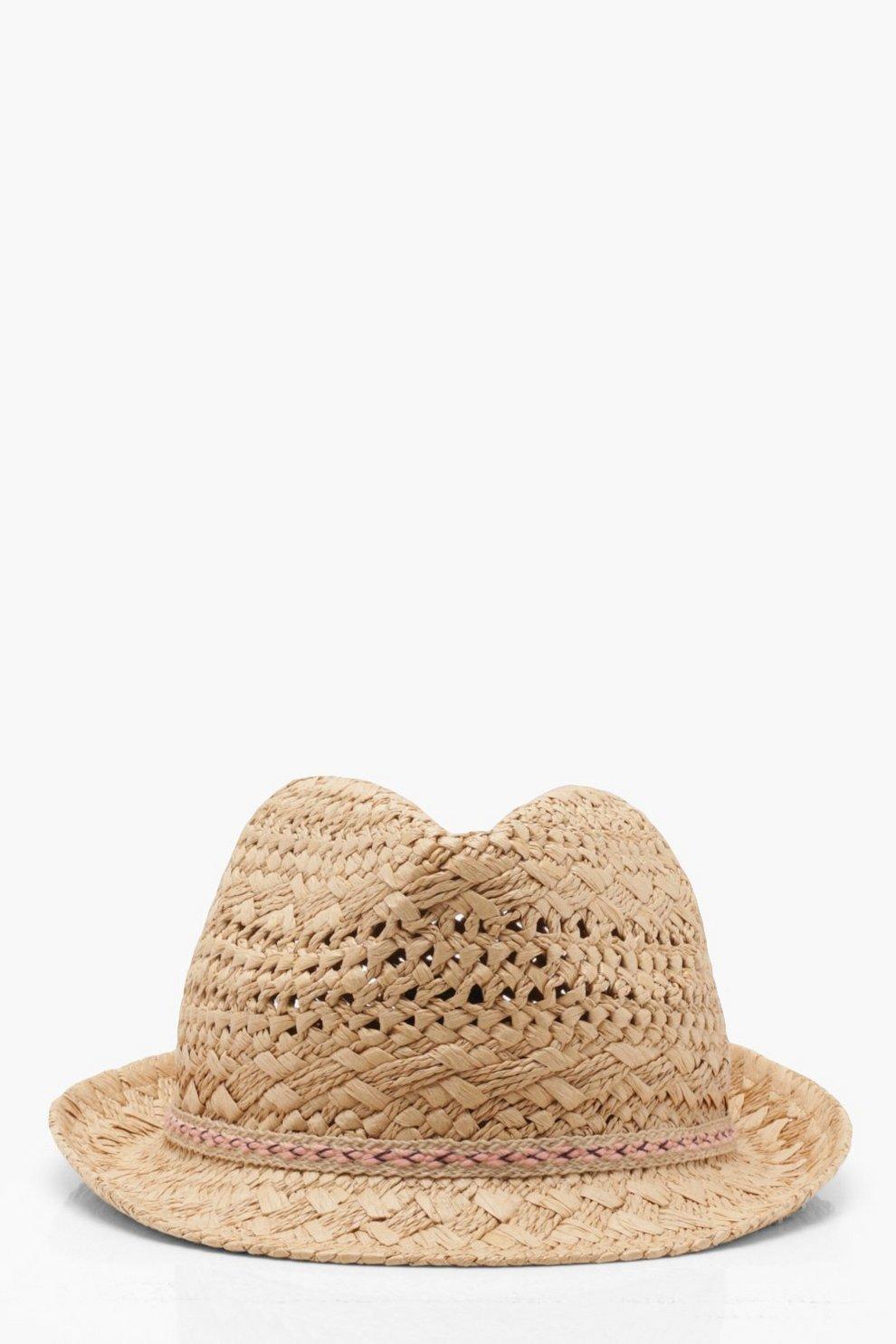ec3cfa847 Aztec Trim Straw Trilby Hat