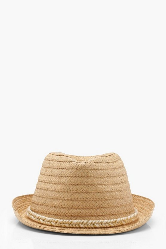 Womens Natural Metallic Plait Band Straw Trilby