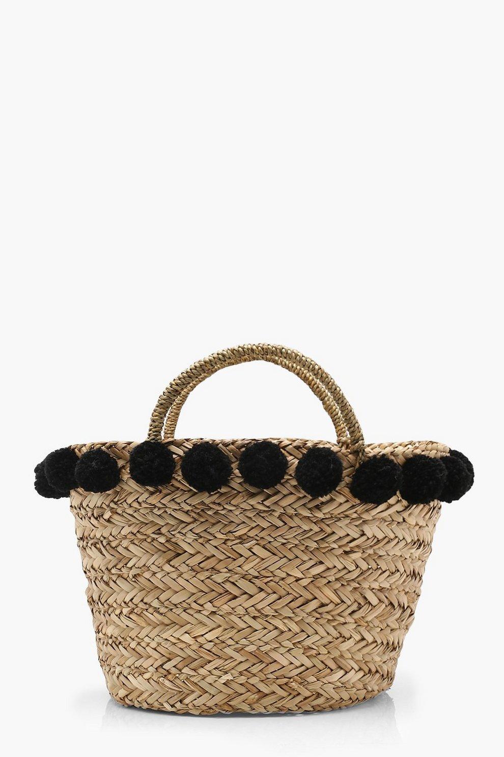 85930a318e Olivia Large Pom Pom Basket Bag