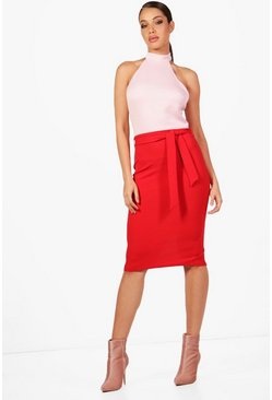 Womens Pink High Neck Constrast Colour Block Midi Dress