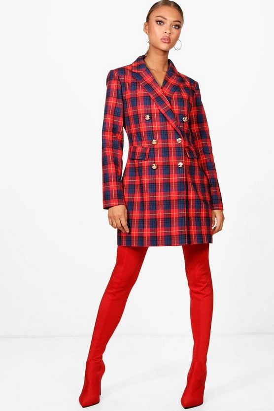 Red Check Blazer Dress