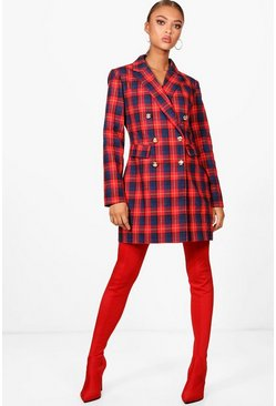 Womens Red Check Blazer Dress
