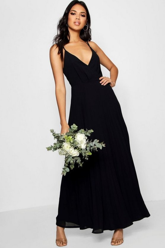 Womens Black Boutique  Pleated Chiffon Maxi Dress