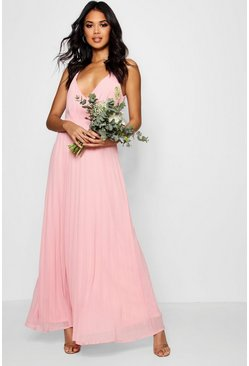 Boutique Pleated Maxi Bridesmaid Dress, Пустынная роза