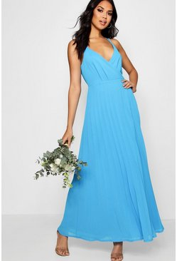 Horizon blue Boutique Pleated Maxi Bridesmaid Dress